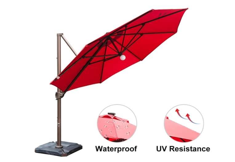 Abba Patio 11 Feet Offset Cantilever Umbrella with Solar Lights