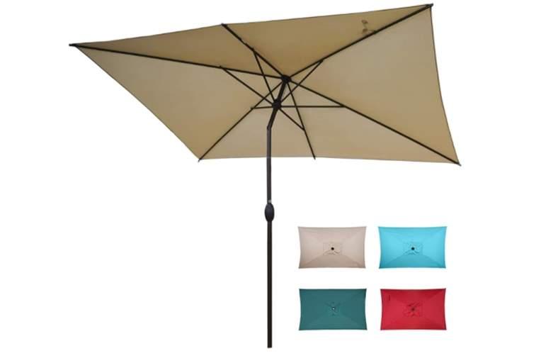 Abba Patio 6.5 by 10 Ft Rectangular Market Umbrella with Push Button Tilt and Crank