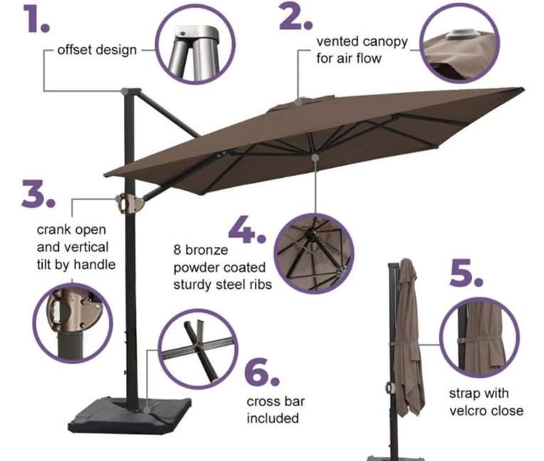 Abba Patio 8 x 10 Feet Rectangular Offset Cantilever Umbrella with Cross Base