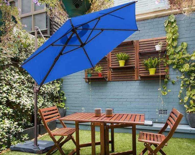 Abba Patio 9 Feet Offset Cantilever Umbrella with Cross Base