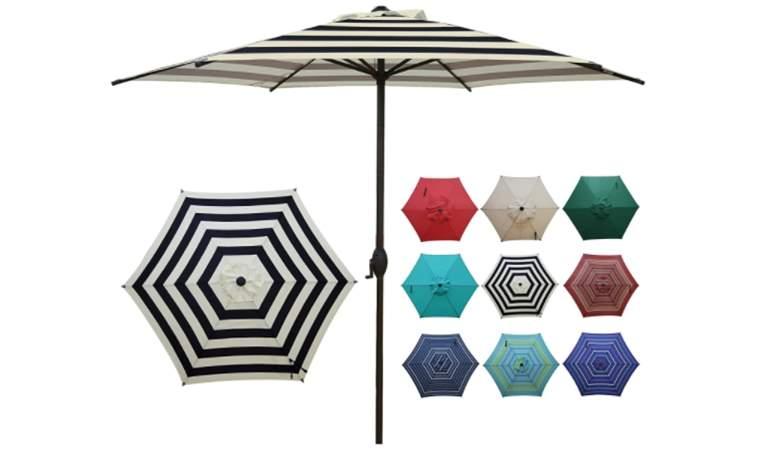 Abba Patio 9ft Striped Patio Umbrella Outdoor Umbrella Patio Market Table Umbrella with Push Button Tilt and Crank