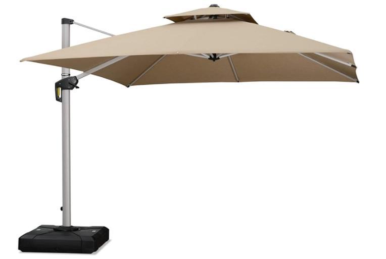 PURPLE LEAF 10 Feet Double Top Deluxe Sunbrella Square Patio Umbrella