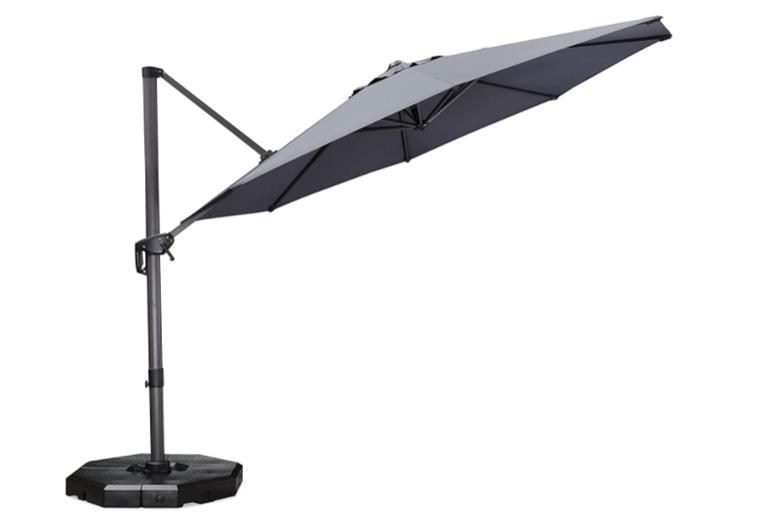 PURPLE LEAF 11 Feet Patio Umbrella Outdoor Cantilever Round Umbrella Aluminum Offset Umbrella with 360-degree Rotation
