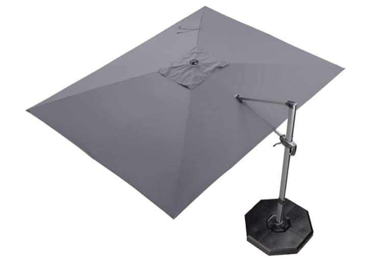 PURPLE LEAF 9' X 11.5' Patio Umbrella Outdoor Cantilever Rectangle Umbrella Aluminum Offset Umbrella with 360-degree Rotation