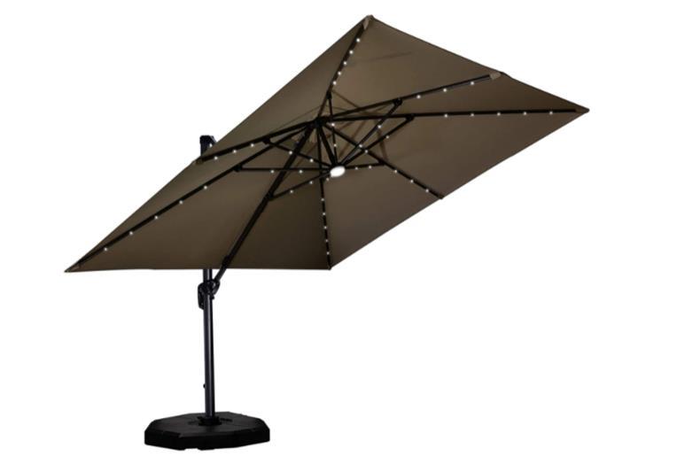 Purple Leaf 10 Feet Patio Aluminum Cantilever Solar Powered LED Square Umbrella with 360-degree Rotation - LED Lights