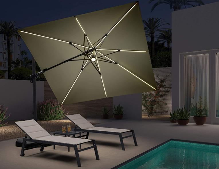 Purple Leaf 10 Feet Patio Aluminum Cantilever Solar Powered LED Square Umbrella with 360-degree Rotation - LED + Swivel
