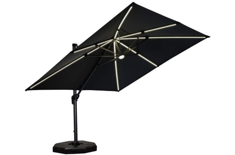 Purple Leaf 10 Feet Patio Aluminum Cantilever Solar Powered LED Square Umbrella with 360-degree Rotation - LED Tube
