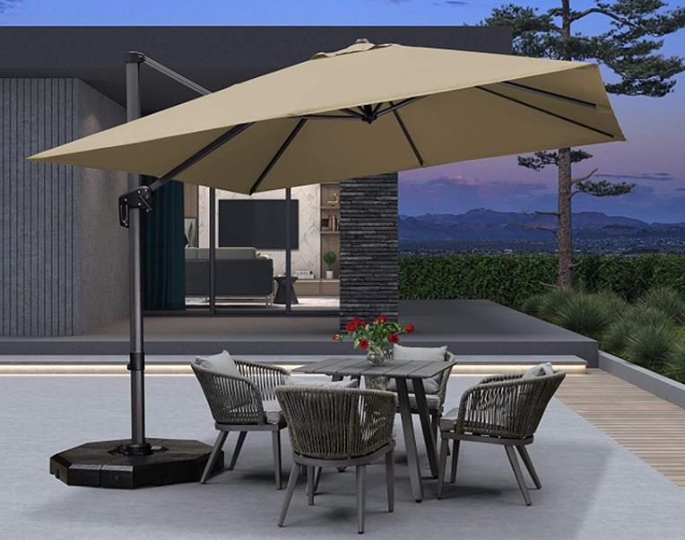 Purple Leaf 10' x 10' Square Patio Aluminum Cantilever Square Umbrella with 360-degree Rotation