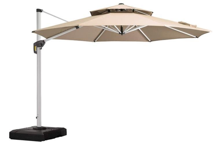 Purple Leaf 10ft Round Cantilever Patio Umbrella Outdoor Umbrella with 360 Degree Rotation