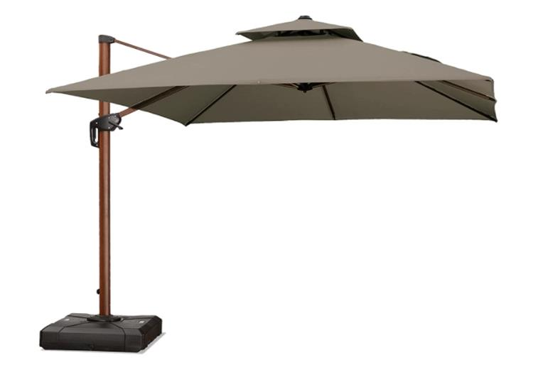 Purple Leaf 10ft Square Double Top Deluxe Sunbrella Cantilever Patio Umbrella Outdoor with 360-degree Rotation - Normal and Wood Pattern