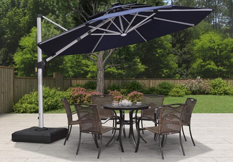 Purple Leaf 11' Solar Powered LED Round Cantilever Patio Umbrella Outdoor Umbrella Windproof Offset Umbrella