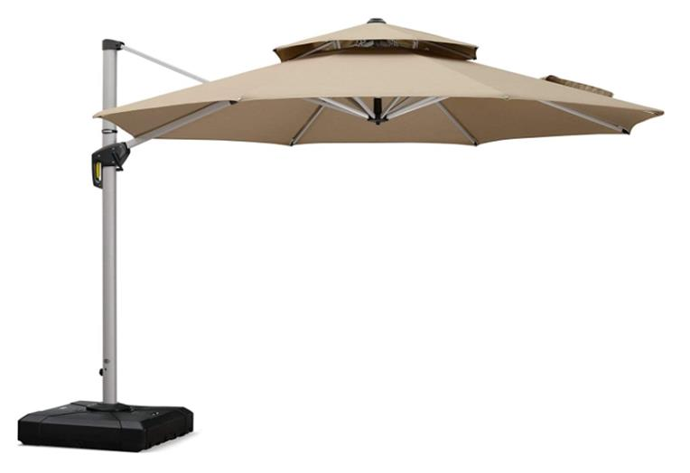 Purple Leaf 11ft Round Double Top Deluxe Sunbrella Cantilever Patio Umbrella Outdoor with 360 Degree Rotation - Normal