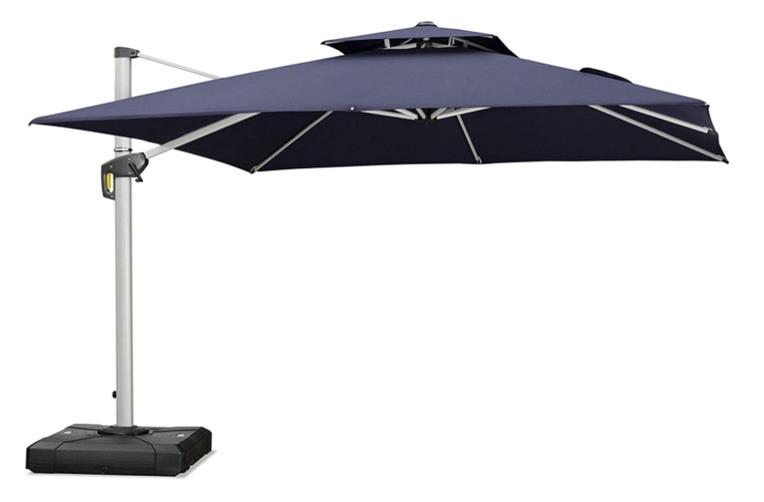 Purple Leaf 12ft Double Top Deluxe Square Cantilever Patio Umbrella Outdoor Umbrella with 360 Degree Rotation