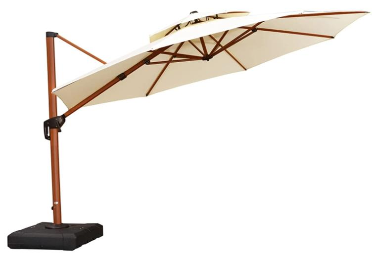 Purple Leaf 12ft Wood Pattern Round Cantilever Patio Umbrella Outdoor Umbrella with 360 Degree Rotation