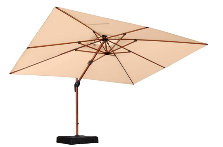 Purple Leaf 9' x 12' Rectangle Wood Pattern Rectangle Cantilever Patio Umbrella with 360 Degree Rotation