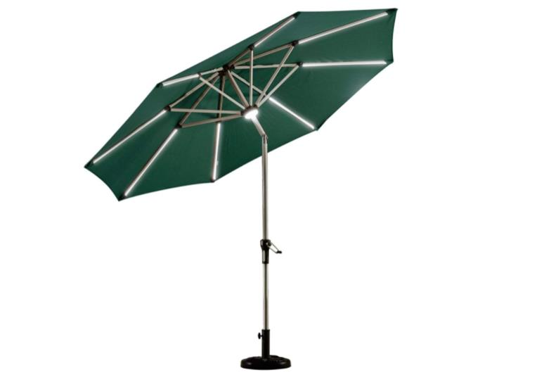 Purple Leaf 9ft Solar Powered Led Lighted Market Patio Umbrella with Push Button Tilt, Crank